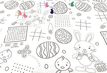 Amazon.com: Easter Coloring Color in Tablecloth Bunny Shaped Crayons ...