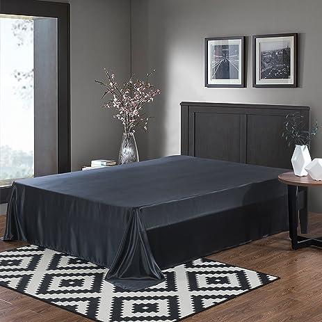 ALASKA BEAR   100% 19 Momme Mulberry Silk Bed Sheet, Seamless Flat Top Sheet