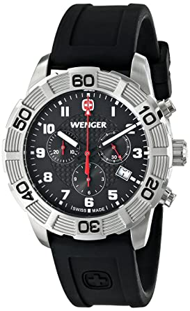 Wenger Mens 01.0853.101 Roadster Chrono Stainless Steel Watch With Black Silicone Band