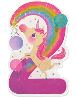 American Greetings Unicorn 2nd Birthday Card For Girl With Glitter