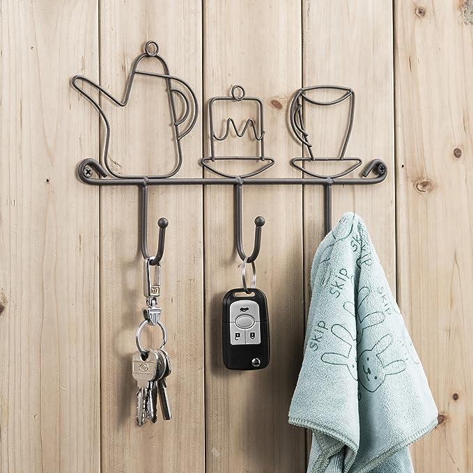 Perchero de pared, soporte de pared de hierro fundido de 11 pulgadas, 3 ganchos, para el hogar, restaurante, café, oficina, decoración, colgar ...
