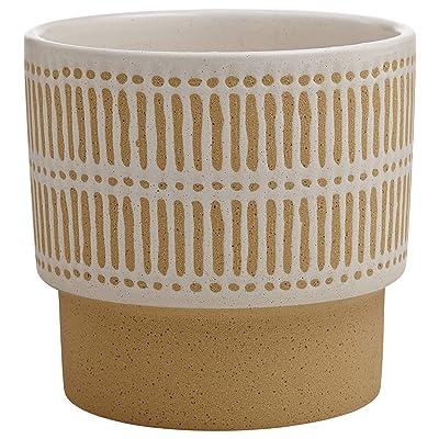 Stone & Beam Emerick Rustic Stoneware Planter Pot - 6 Inch, Brown and White: Home & Kitchen