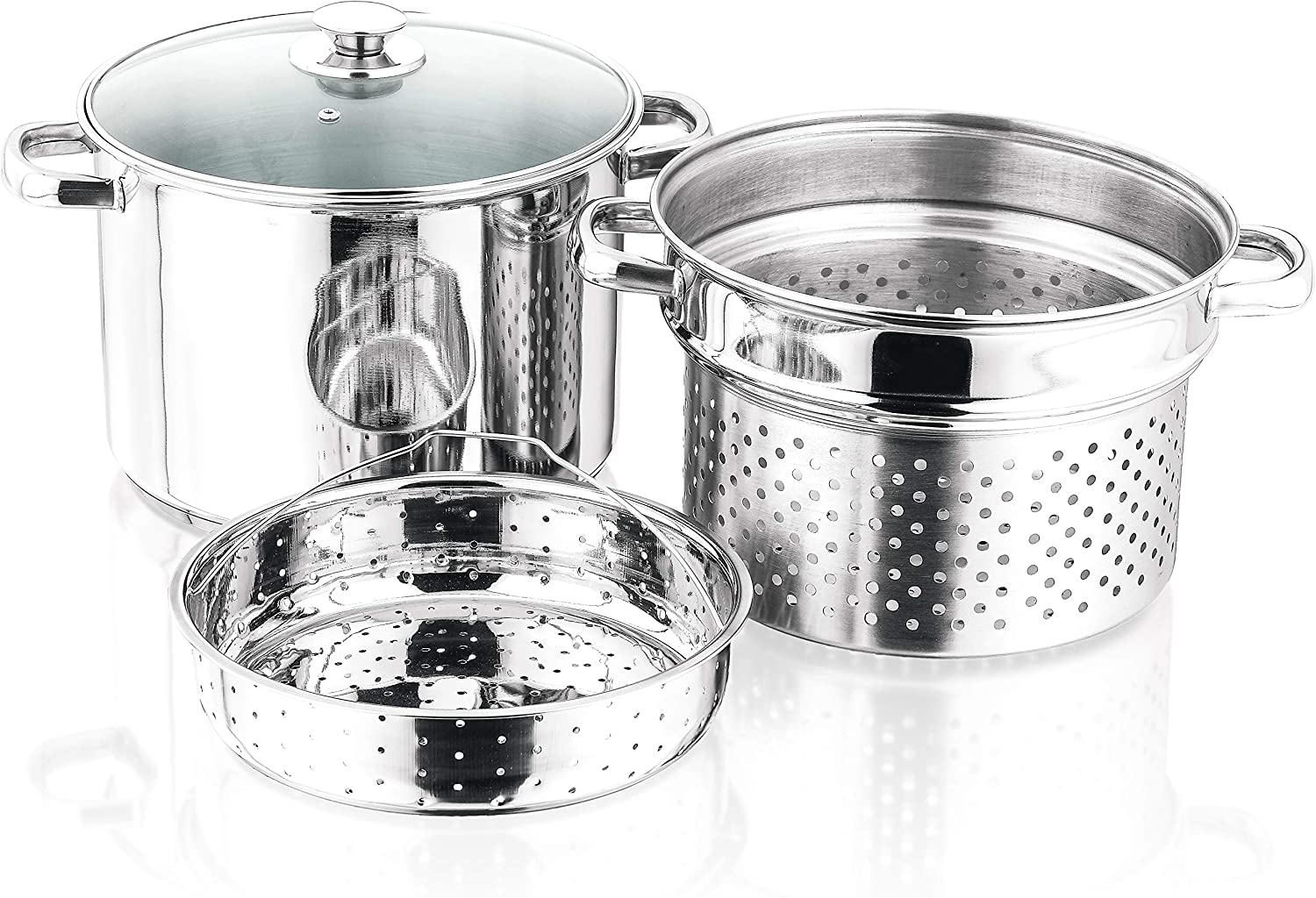4 Pieces Stainless Steel Pasta Cooker Set with 8 Quart Stock Pot with Steamer Inserts