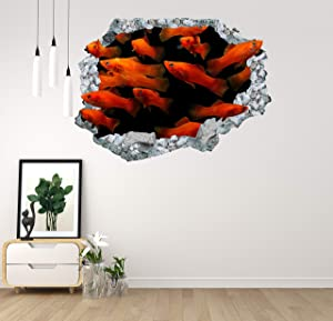 Red Carp Fish Hole Wall Decal 3D Design Home Decor Mural Art Goldfish Concrete Hole Wall Colorful Broken Wall Reed Aquarium Goldfish