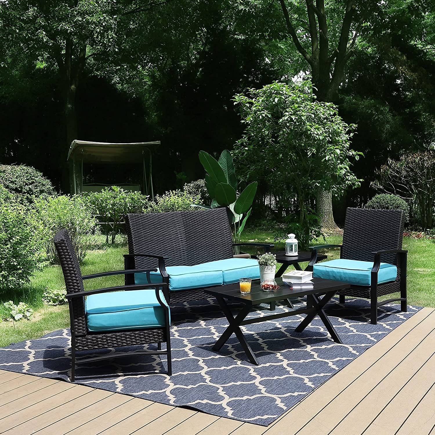 Sophia & William Outdoor Patio Furniture Set Deep Seating Conversation Set with Wicker Rattan Cushioned Loveseat & 2 Armrest Sofa Chairs & 2 Metal Coffee Table (5 Piece, Turquoise)