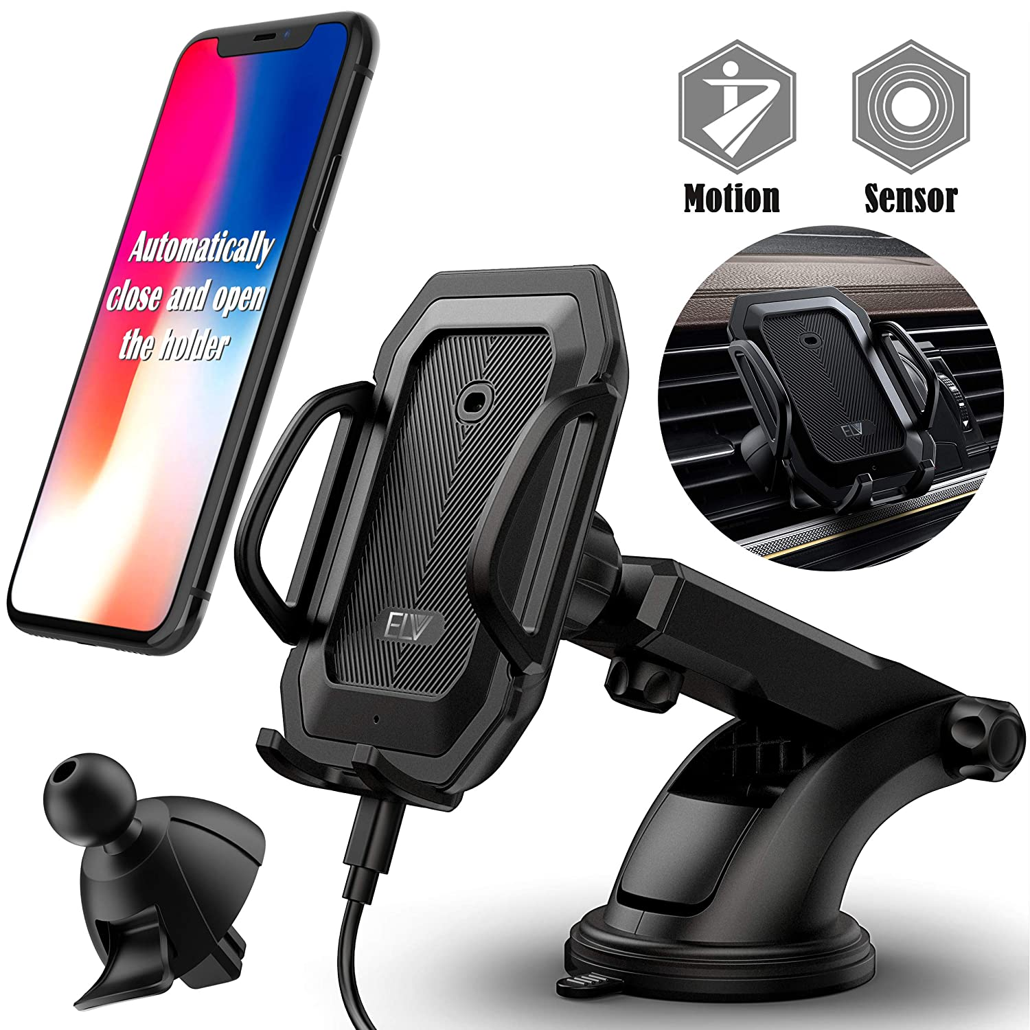 Car Phone Mount Samsung Galaxy Note 9 S9 S8 S7 /& GPS 4350469997 ELV Universal Car Air Vent Mount /& Dashboard Windshield Car Phone Holder Mount with Automatic Lock Release Cradle for iPhone X 8 7 Plus 6S
