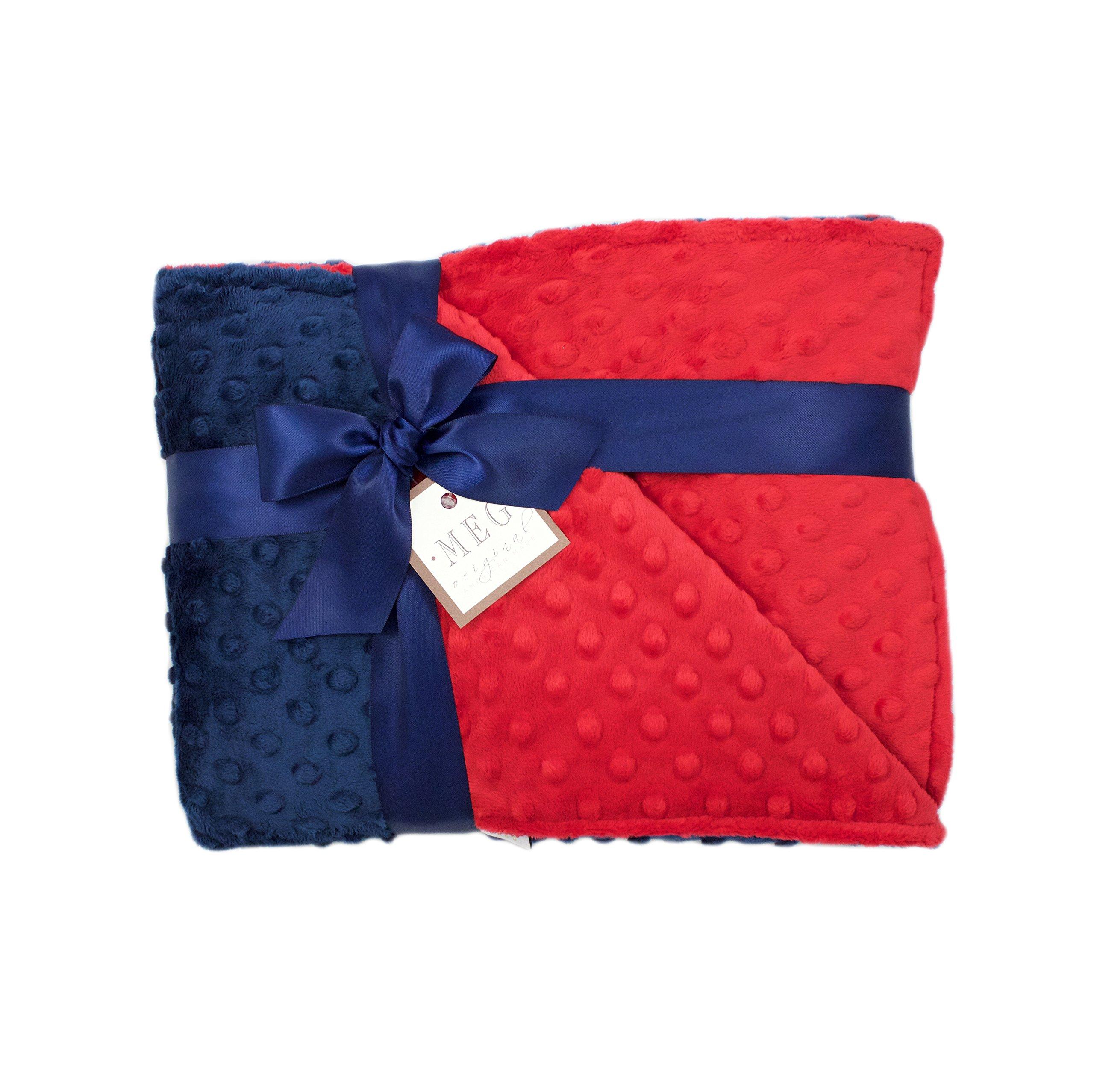MEG Original Navy Blue & Red Baby Boy Minky Dot Crib Blanket