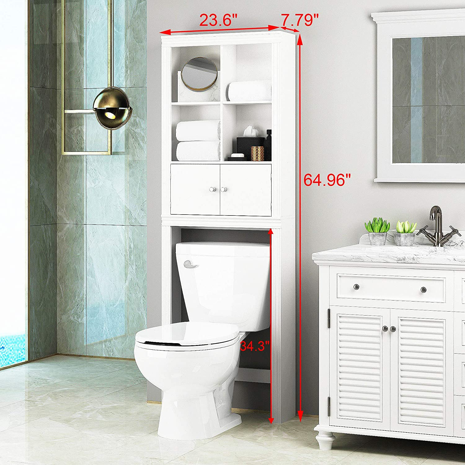 Spirich Home Bathroom Shelf Over The Toilet Bathroom Cabinet Organizer Over Toilet Space Saver Cabinet Storage White