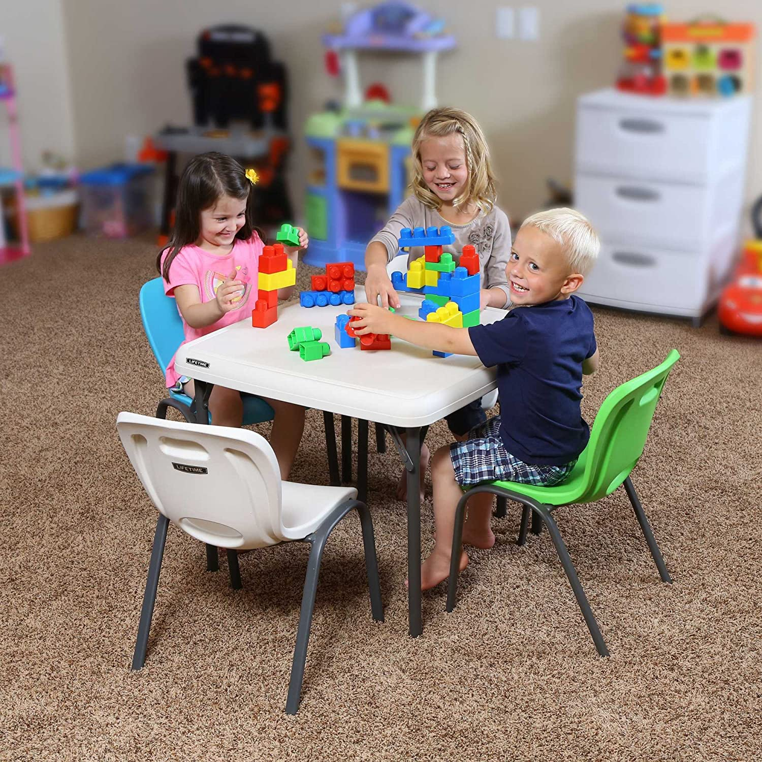 Amazon.com: Lifetime 80425 Kids Folding Table, Almond, 24\u201d: Garden ...