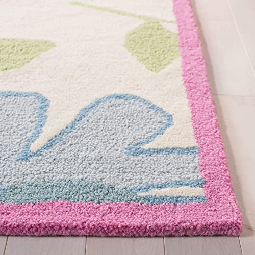 Safavieh Safavieh Kids Collection SFK376A Handmade Ivory and Pink Cotton Area Rug 8 x 10