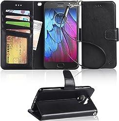 Arae Moto G5s Flip case, Motorola Moto G5s PU Leather Case with Card Slots and Wallet,Black