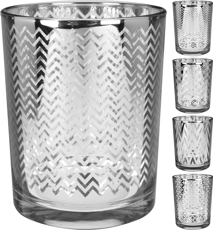 KMI Windlicht 2er Set ausgefallenes Design in 2 Gr/ö/ßen Silber