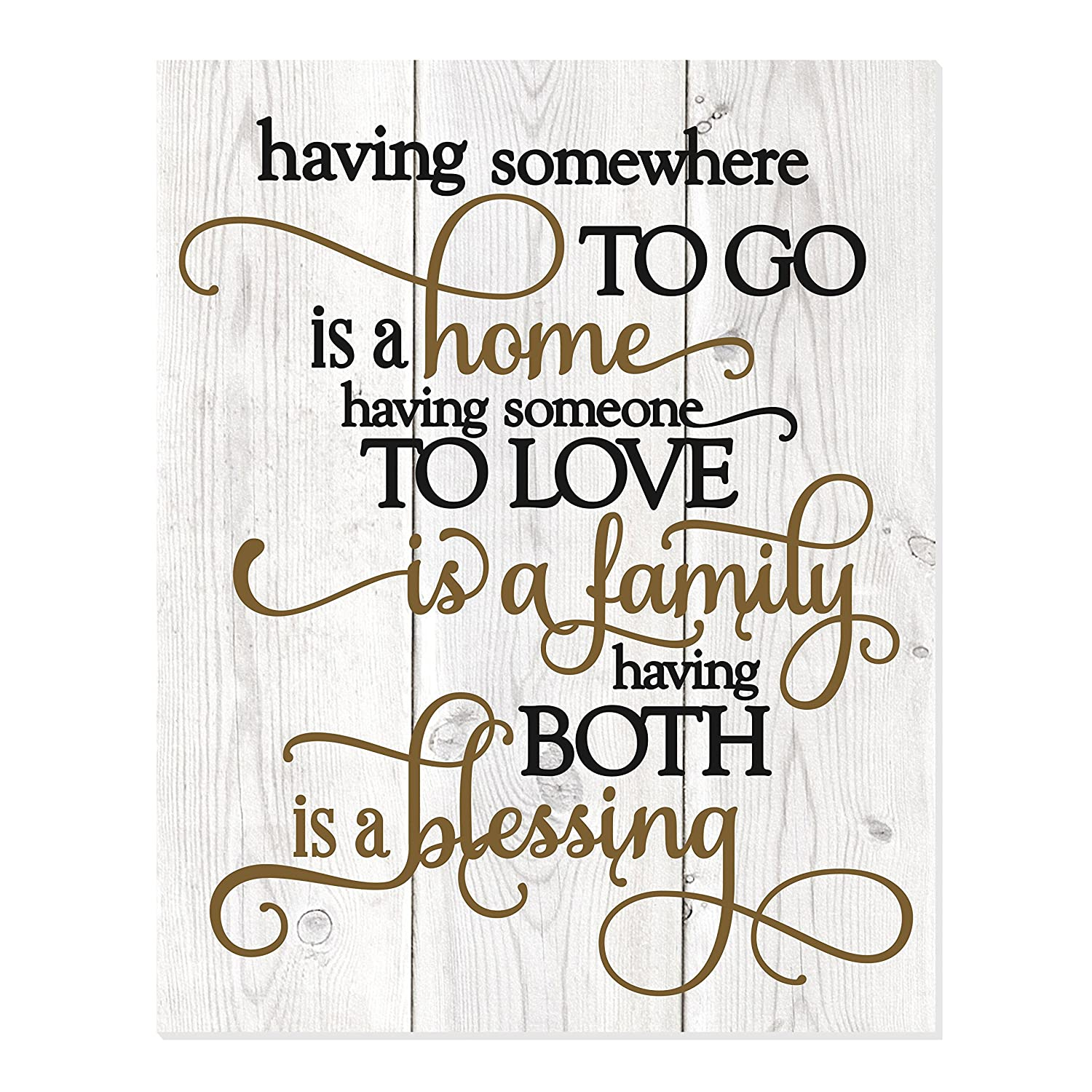 MRC Wood Products Having Somewhere to Go is A Home Someone to Love is Family Both is A Blessing Wall Sign 12x15