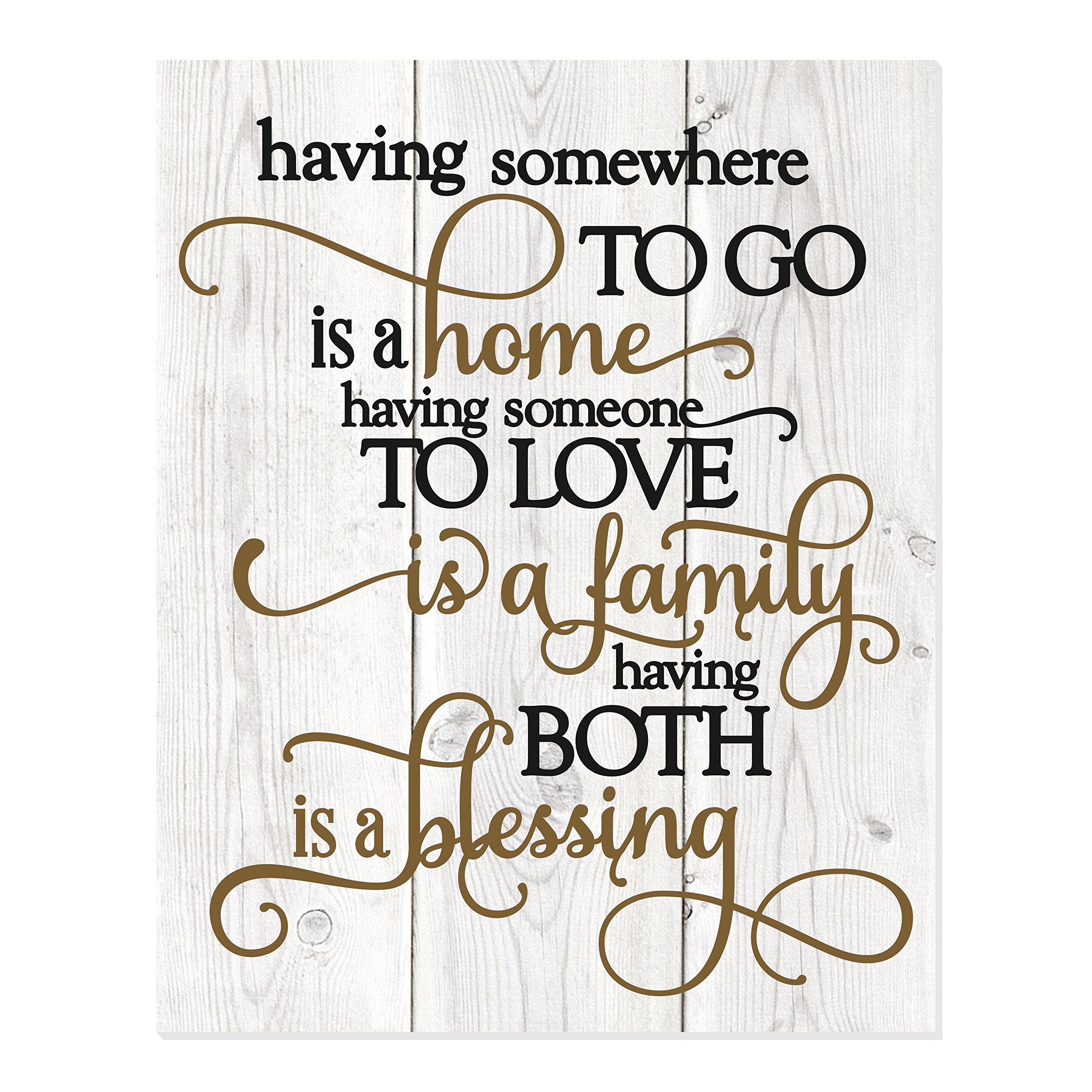 MRC Wood Products Having Somewhere to Go is A Home Someone to Love is Family Both is A Blessing Wall Sign 12×15