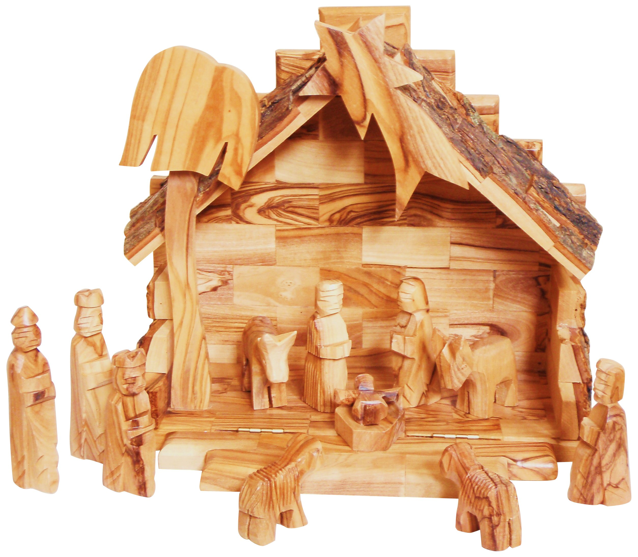 Earthwood Olive Wood Stable with 12 Piece Nativity Set, Mini