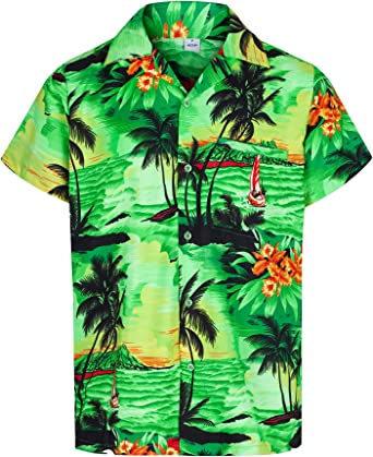 New Mens Hawaiian Shirt Stag Beach Tropical Aloha Party Fancy Dress Costume Top
