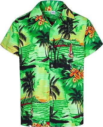 Redstar Fancy Dress - Camisa Hawaiana de Manga Corta - para Hombre - Aloha Verano - Todas Las Tallas - Verde - M: Amazon.es: Ropa y accesorios