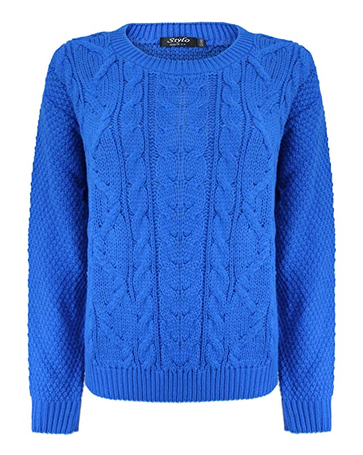 bdc1e737ad92f6 Generation Fashion New Ladies Women Knitted Cable Crew Neck Long Sleeve  Jumper Chunky Knit Baggy Sweater Top Pullover  Amazon.co.uk  Clothing