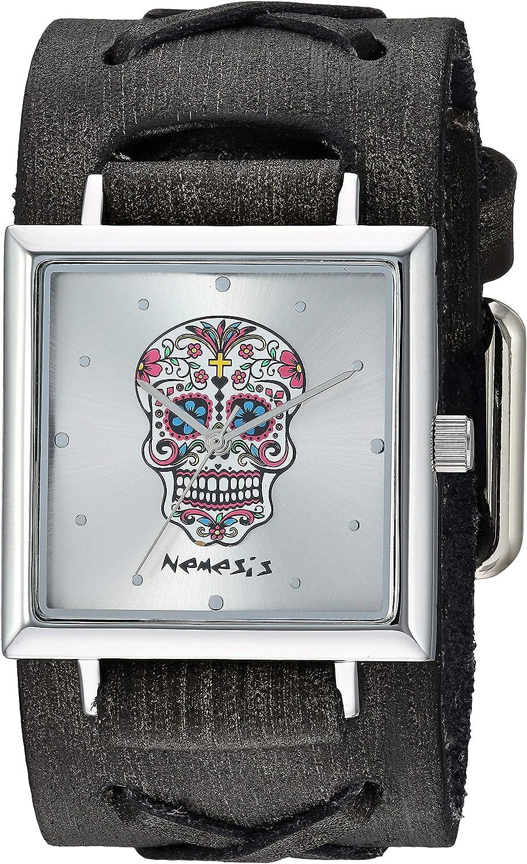 Nemesis SQ Sugar Skull Stainless Steel Analog-Quartz Leather Strap, Silver, 37.5 Casual Watch (Model: FXB955S)