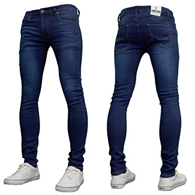 315d3ab0 SoulStar Mens Boys Designer Super Skinny Stretch Jeans, Black/Dark Blue BNWT