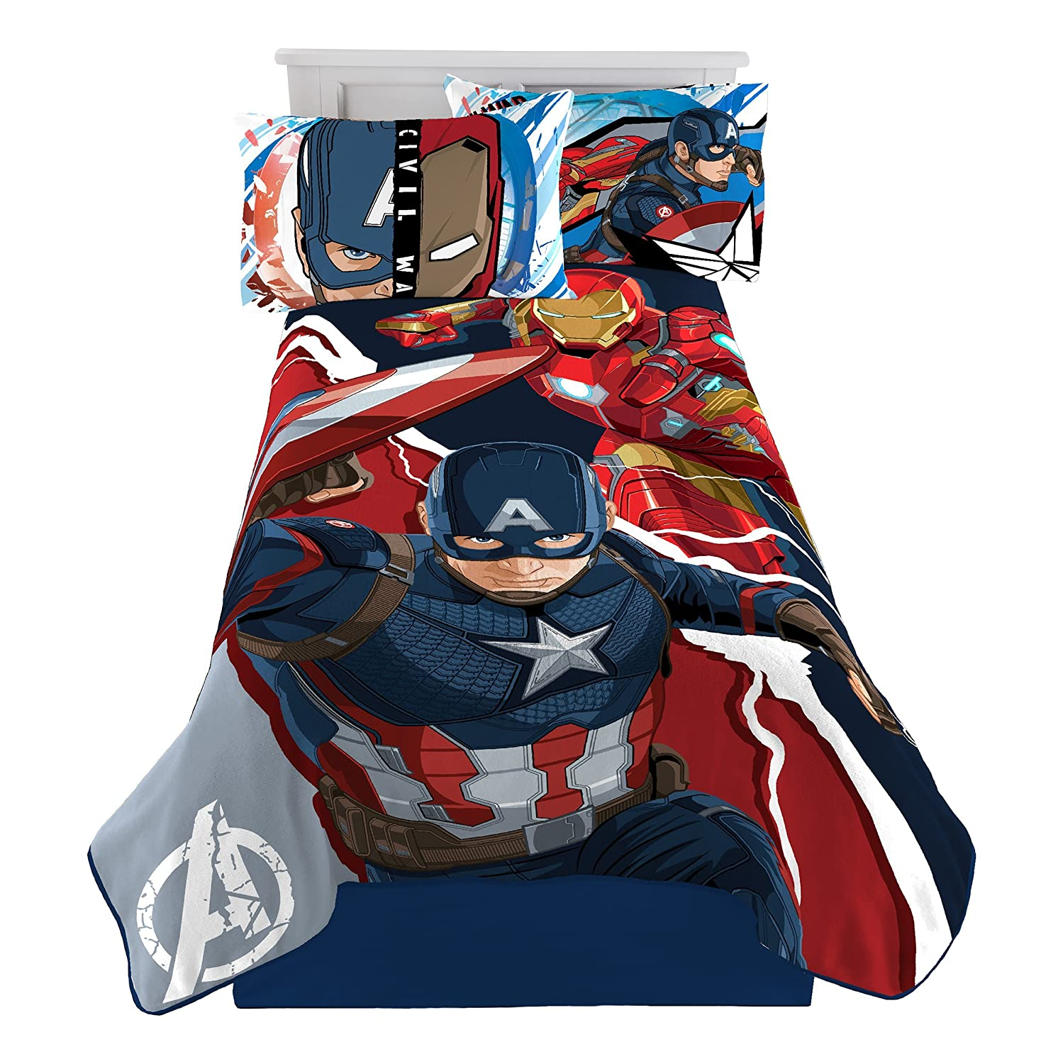 Marvel Avengers 'Blue Circle' Fleece Plush Blanket, 62 x 90/Twin 62 x 90/Twin Jay Franco and Sons Inc. JF29663ECD