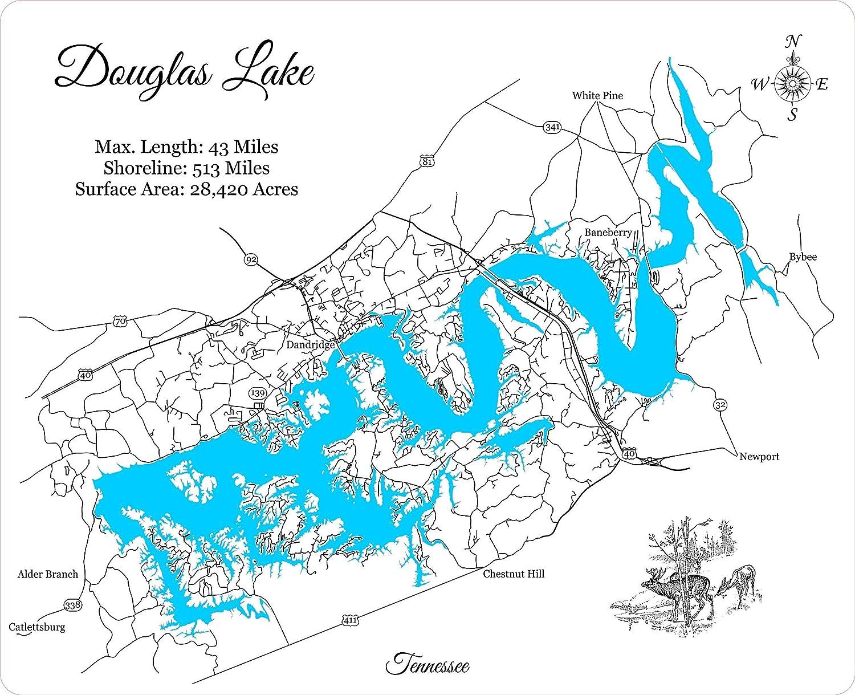 douglas lake fishing map Amazon Com Douglas Lake Tennessee Framed Wood Map Wall Hanging douglas lake fishing map