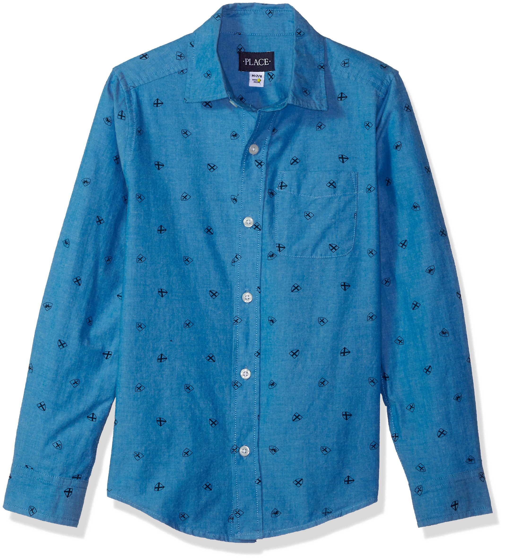 The Children's Place Big Boys' Blue Poplin Printed Top, Sailors Sea 88198, L (10/12)