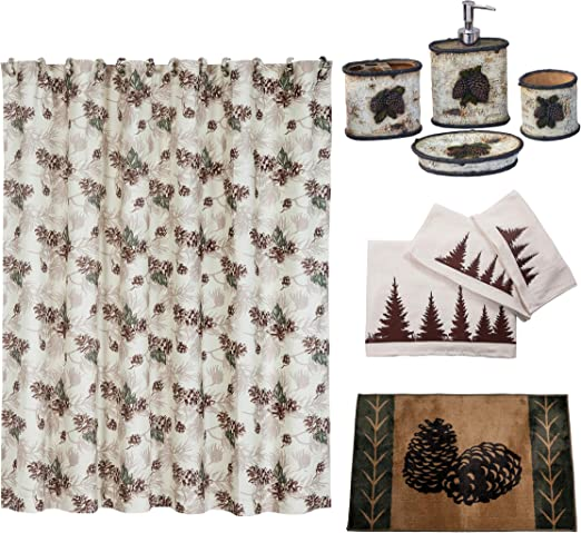 Gracelife Set Of 12 Pinecone Shower Curtain Hooks Bathroom Rolling Hangers Slidi