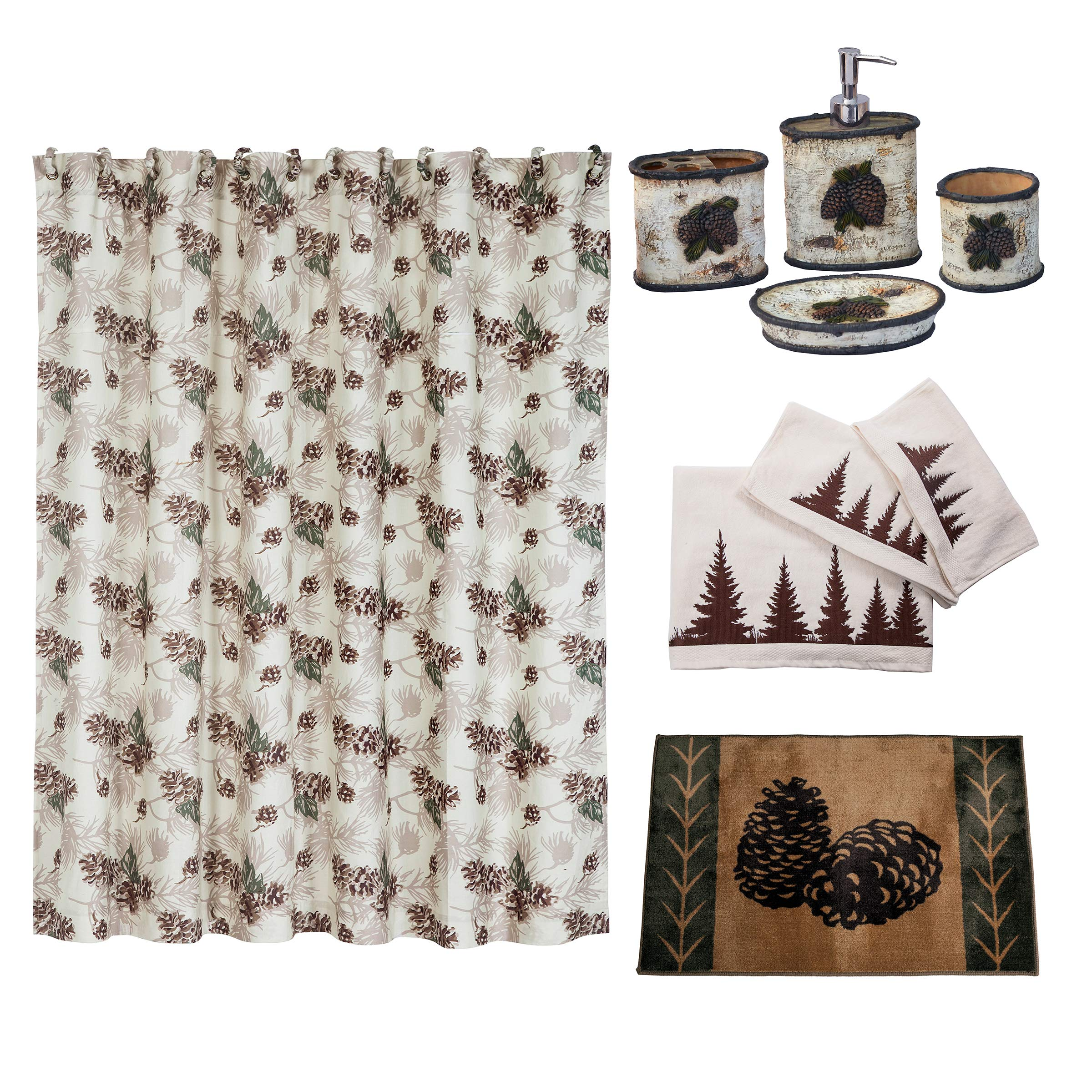 HiEnd Accents Forest Pine Lodge 21-Piece Bathroom, Shower Curtain Hook, Bath Accessory, Rug, Towel Set, Green