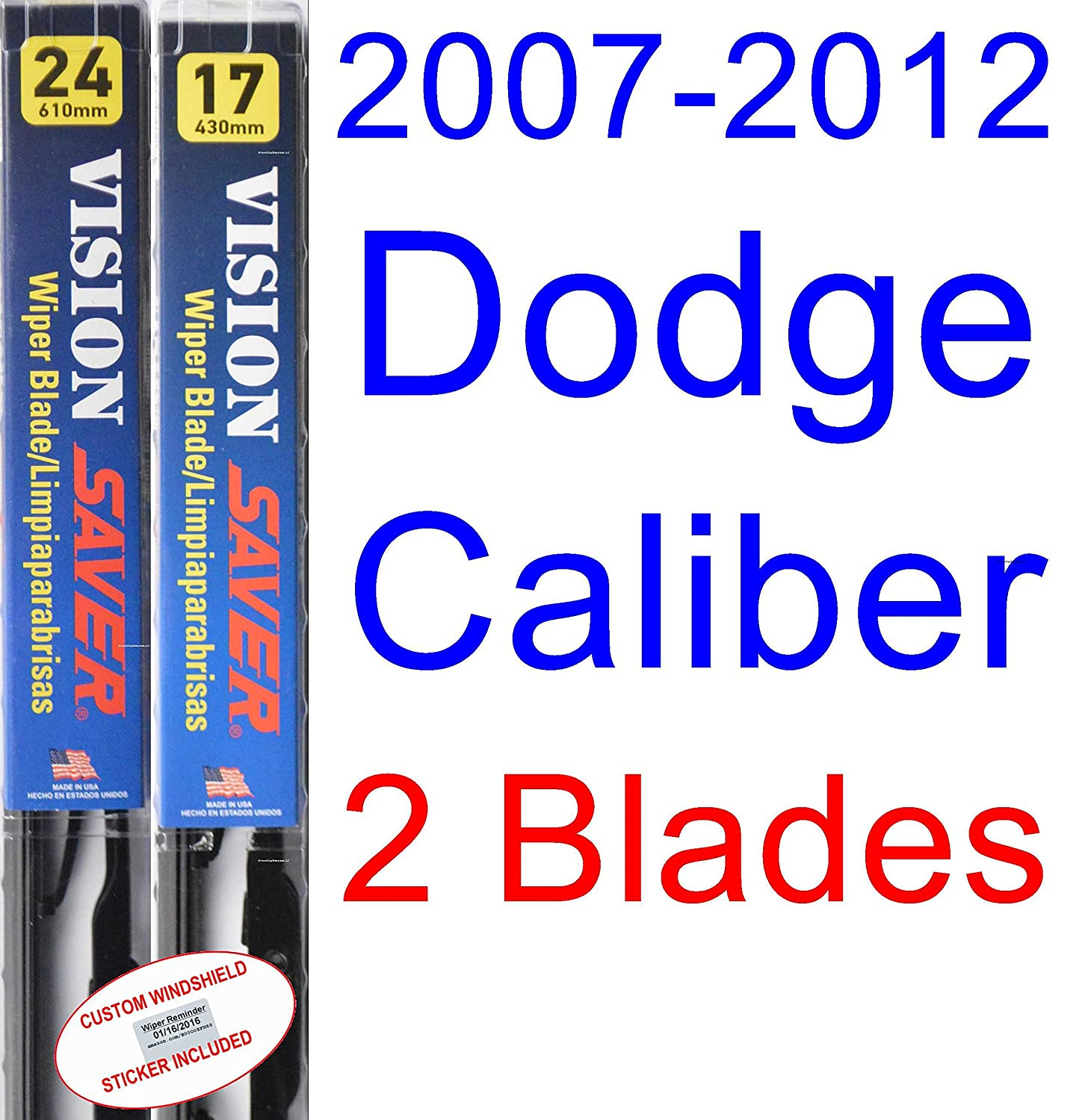 Amazon.com: 2007-2012 Dodge Caliber Replacement Wiper Blade Set/Kit (Set of 2 Blades) (Saver Automotive Products-Vision Saver) (2008,2009,2010,2011): ...