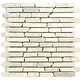 Divero 11 Matten 30 x 30cm Marmor Naturstein-Mosaik Stäbchen-Mosaik Fliesen für Wand Boden creme