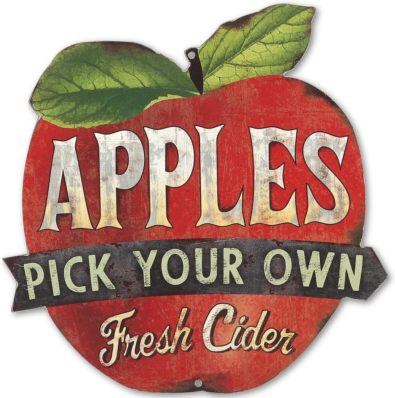 Open Road Brands Pick Your Own Apples Vintage Metal Sign for Kitchen, Dining Room, or Garden Shed