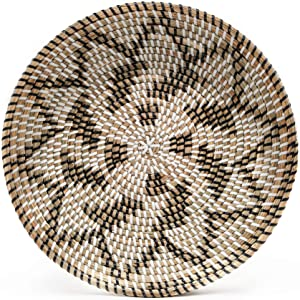 HNC ECOLIFE Basket Wall Decor -Wicker Wall Decor - Hanging Woven Wall Basket - Boho Wall Basket Decor - Home Decoration Living Room Bedroom - Unique Wall Art (35cm/13.7in)