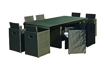 DCB GARDEN Encastrable avec Table/8 Fauteuils Noir 210 x 105 x 74 cm ...