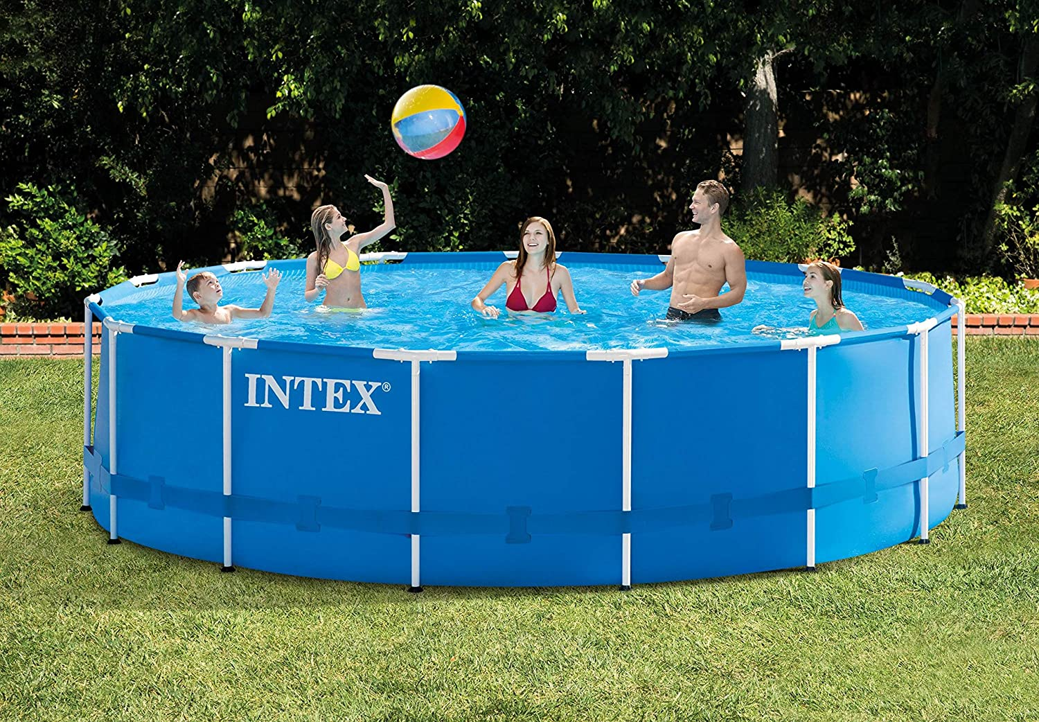 Intex 15ft X 48in Metal Frame Above Ground Swimming Pool Set 15ft Pool Cover Garden Outdoor
