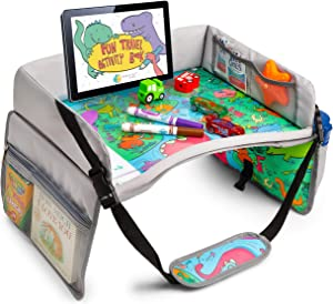Kids Travel Tray - SEARCH & FIND Dinosaur Design - ANVICI Kids Lap Desk Tray - Dry Erase Table for Carseat - Portable Activity Kid Car Seat Trays for Toddler - A Road Trip Essential for Families