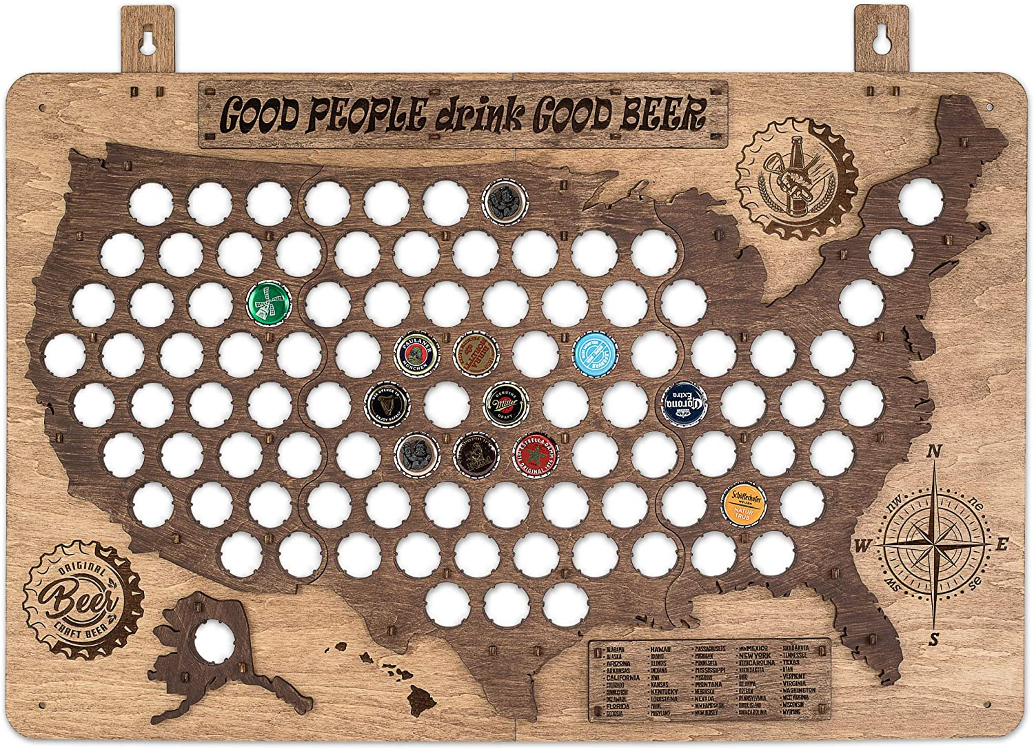 PLYDOLEX Wooden United States Beer Cap Map for 98 Beer Bottle Caps - Wall Beer Cap Holder Size 19 x 26 inch - Ideal as Fathers Day Gifts or Man Cave Wall Decor - Brown Color