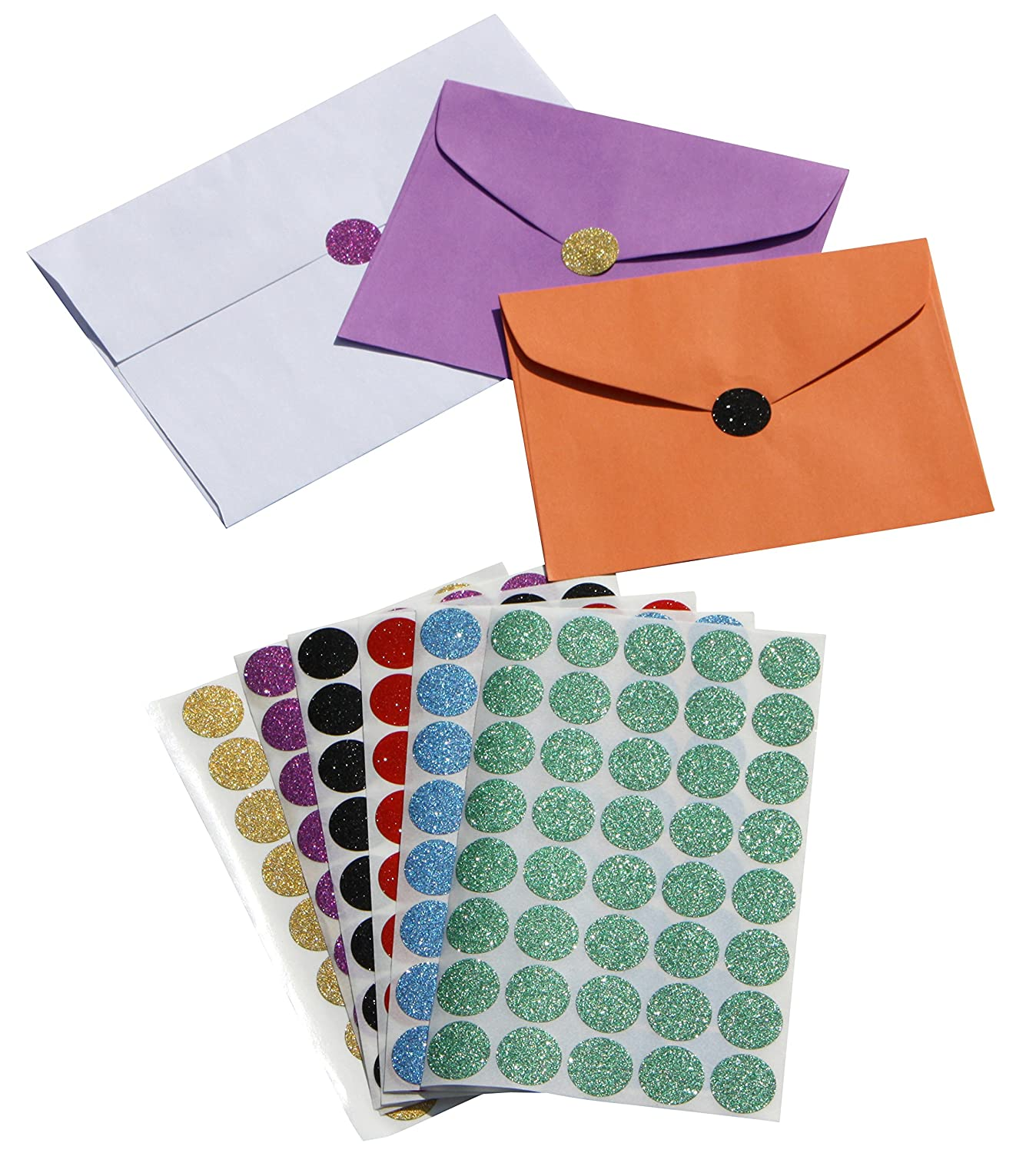 Royal Green RED Circle Stickers 3//4 Diameter 0.75 inch 19mm Envelope Seals in Glitter 600 Pack