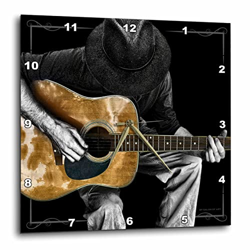 3dRose LLC Guitar Musician Tone Black and White 10 by 10-Inch Wall Clock