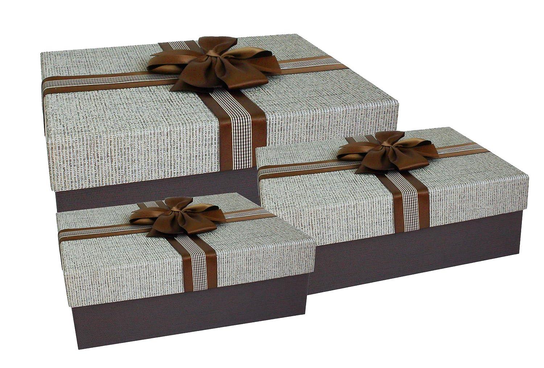 Emartbuy Set di 3 Lusso Rigido Rettangolo Confezione Regalo di Presentazione, Scatola Marrone Con Coperchio Marrone Chiaro, Interni Color Cioccolato e Nastro di Raso Decorativo in Raso