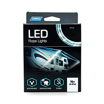 Camco LED 16' Rope Camper Interior and Exterior Lighting for Special Occasions and Outdoor Events, Fits Into Your RV Awning Track (53100): Automotive