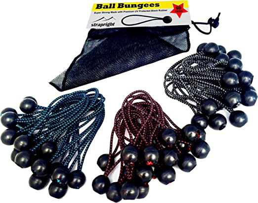 Ball Bungee Utility Quick Ties Variety of Sizes 2 5 and 10 Packs