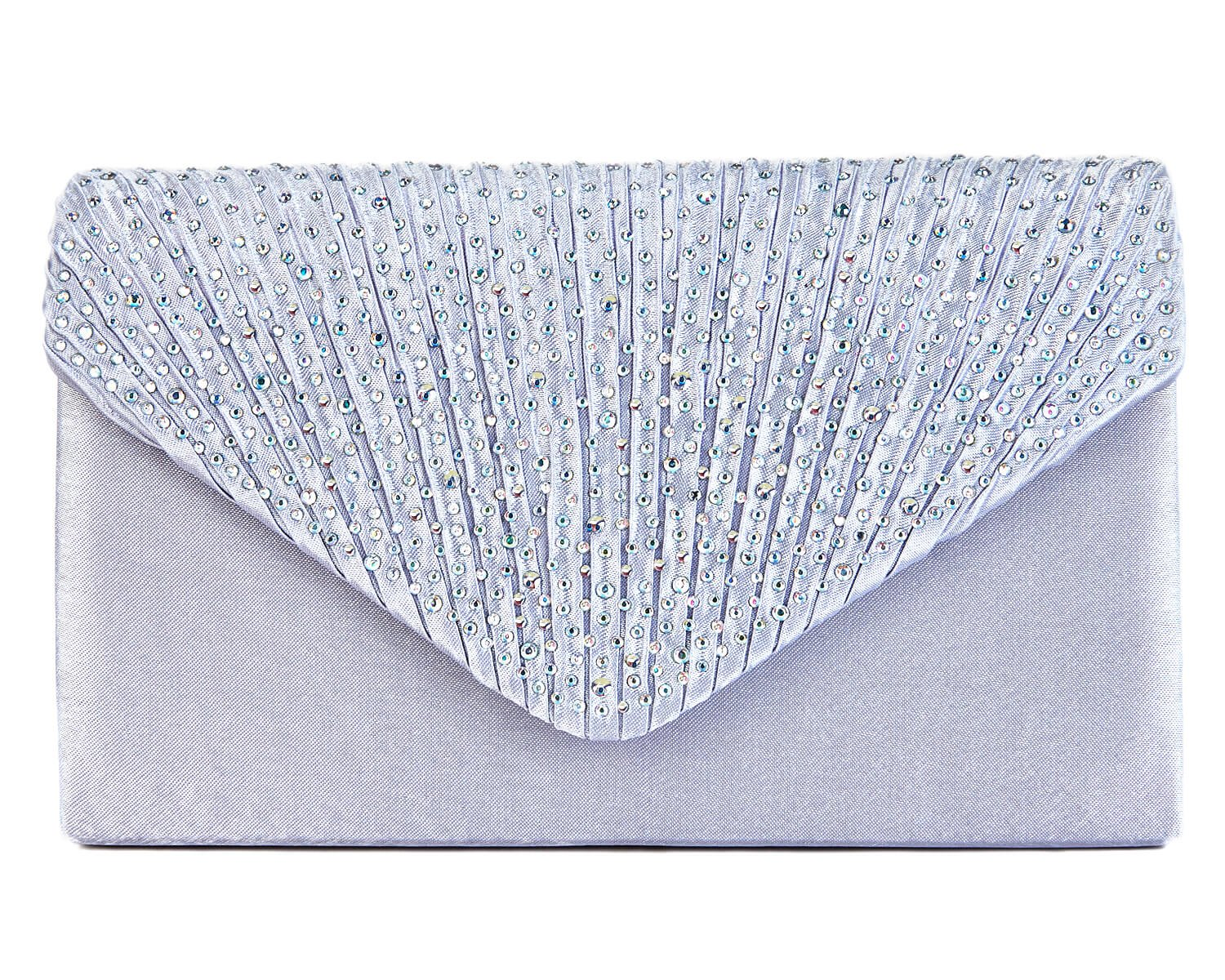 Charming Tailor Clutch Purse Evening Bag Envelope Diamante and Pleated Flap Handbag (Silver)