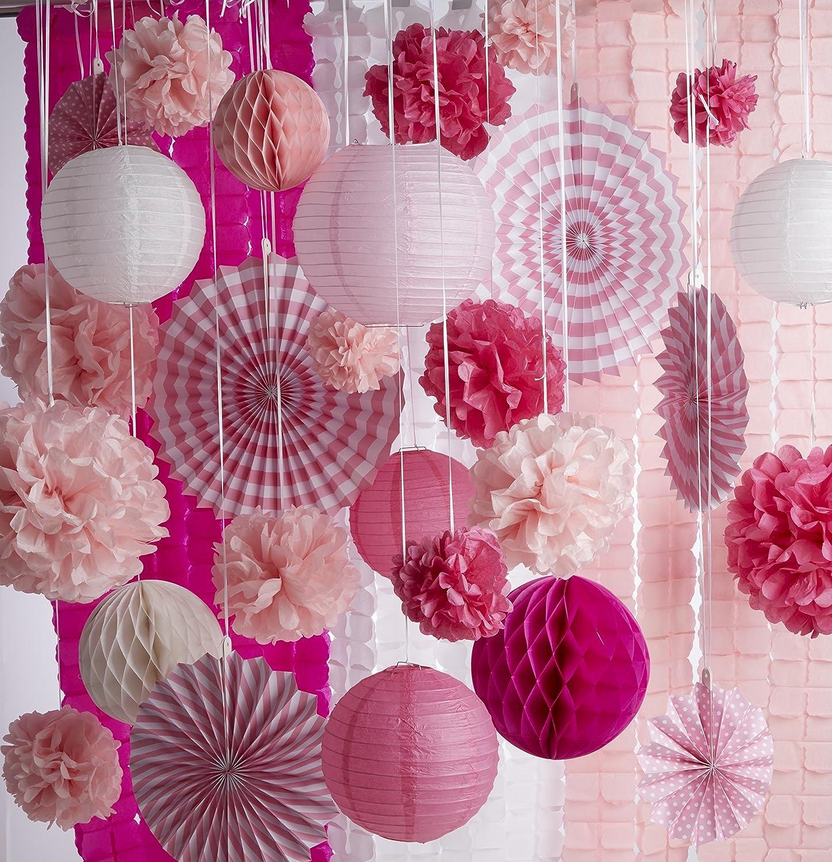 Amazon.com: Tissue Paper Flowers Fans Lanterns Balls Garlands Baby ...