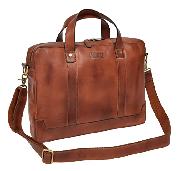 a6a7531320 Mens Genuine Leather Slim Vintage Briefcase Cross Body Work Organiser  Satchel HLG077 Tan  Amazon.co.uk  Clothing