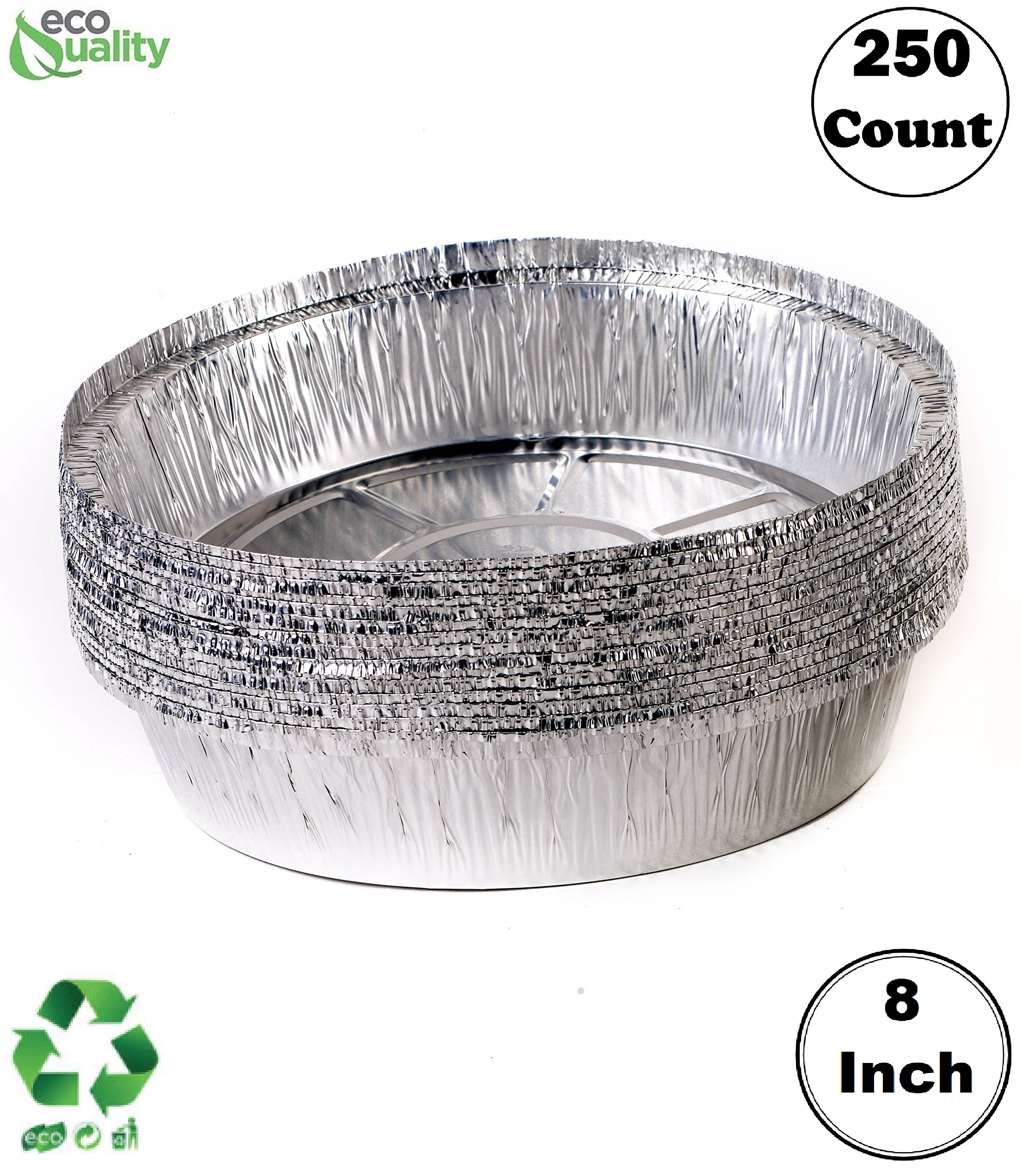 EcoQuality (250 Pack) - 8 Inch Disposable Round Aluminum Foil Take-Out Pans - Disposable Tin Containers, Perfect for Baking, Cooking, Catering, Parties, Restaurants (No Lids)