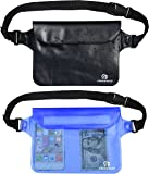 Freegrace Premium Waterproof Pouch Set with Waist/Shoulder Strap - Best Way to Keep Your Phone and Valuables Dry and Safe - Perfect for Boating Swimming Snorkeling Kayaking Beach Water Parks