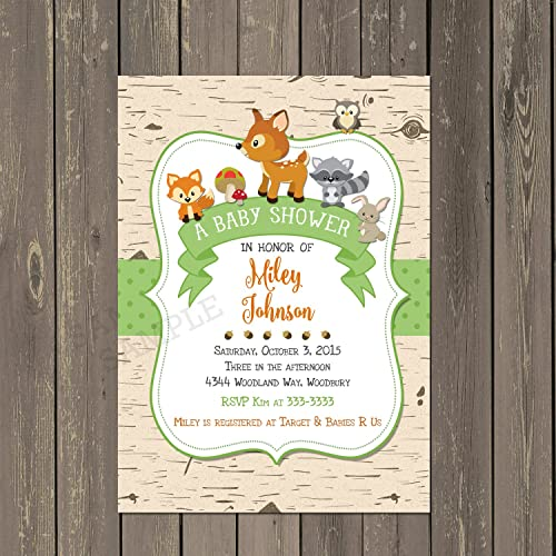 Amazon woodland baby shower invitation woodland animals baby woodland baby shower invitation woodland animals baby shower invite birch baby shower invitation filmwisefo Images