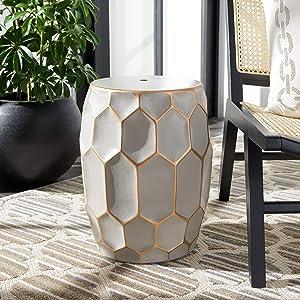 Safavieh Home Collection Nanda Grey/Gold Ceramic Decorative Garden Stool ACS5207A