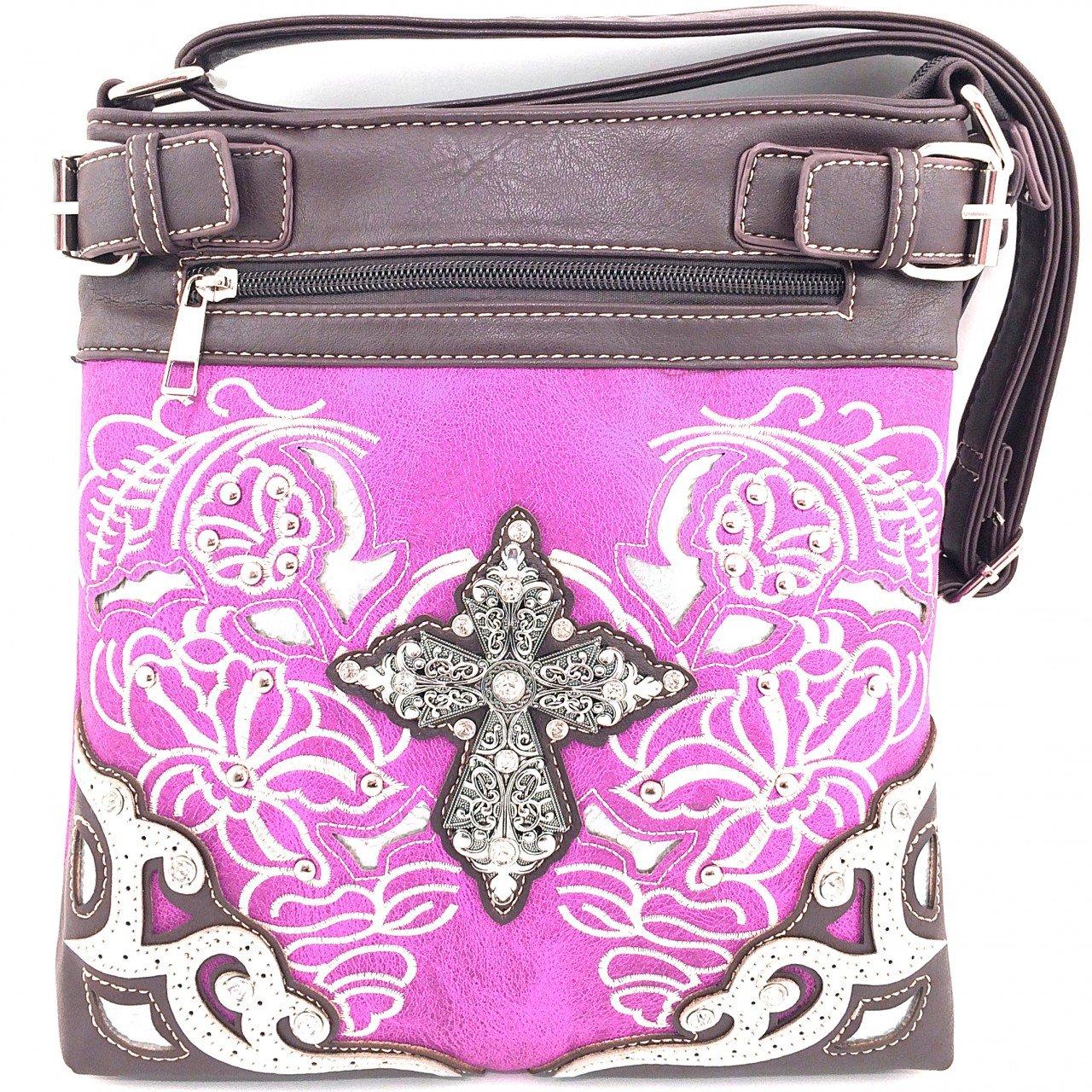 Embroidered Western Rhinestone Cross Messenger Bag Cross Body Purse (Purple)